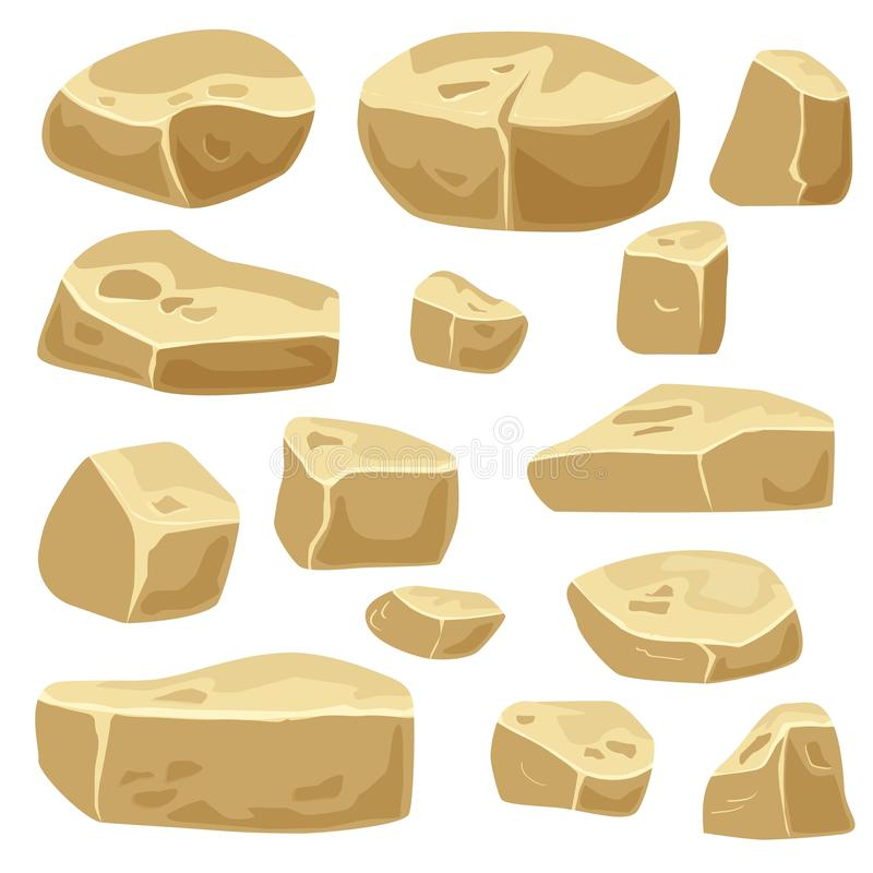 Set of desert stones for game art. Rocks isolated. Set of stones for game art. Rocks isolated stock illustration