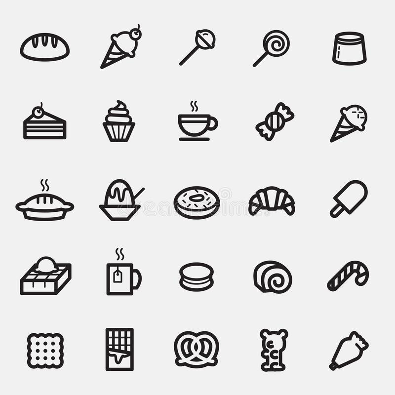 Set deseru i cukierków ikona obraz stock