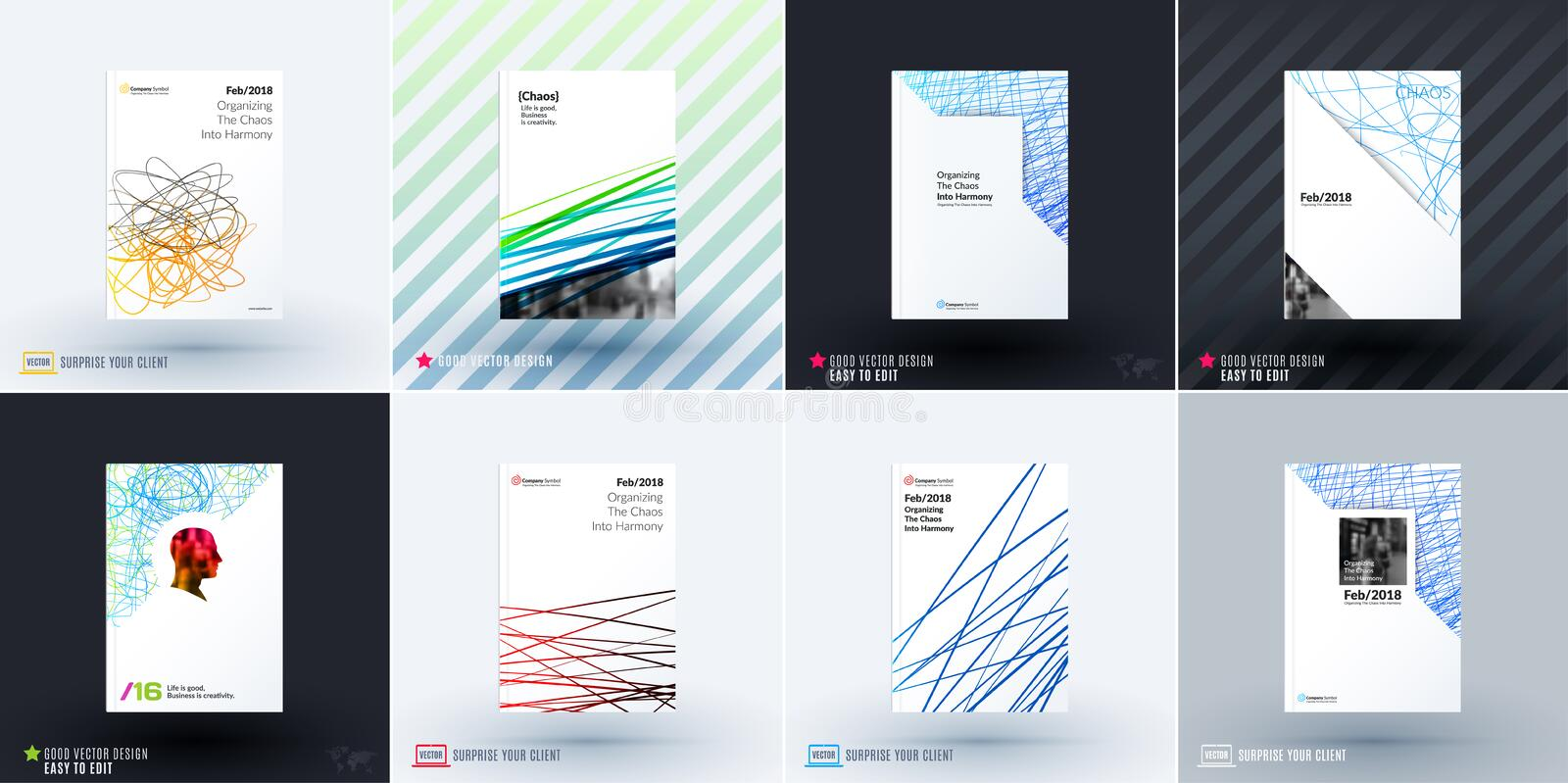 Set of design of brochure, abstract annual report, cover modern layout. Flyer in A4 with trendy colourful sketch chaos lines, abstract shapes for finance with royalty free illustration