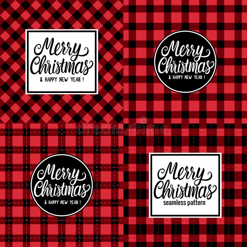 Set Design Card Merry Christmas white hand drawn lettering text inscription. Vector illustration Checkered black and red royalty free illustration