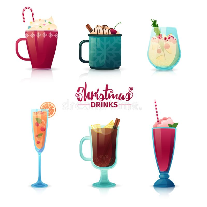 Set of design of Christmas drinks in cartoon style. Mulled wine, hot chocolate, milkshake for the New Year holiday stock illustration