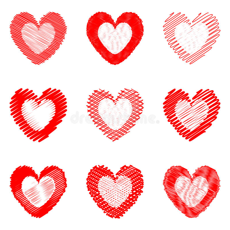 Set of design drawn heart icons for Valentines Day