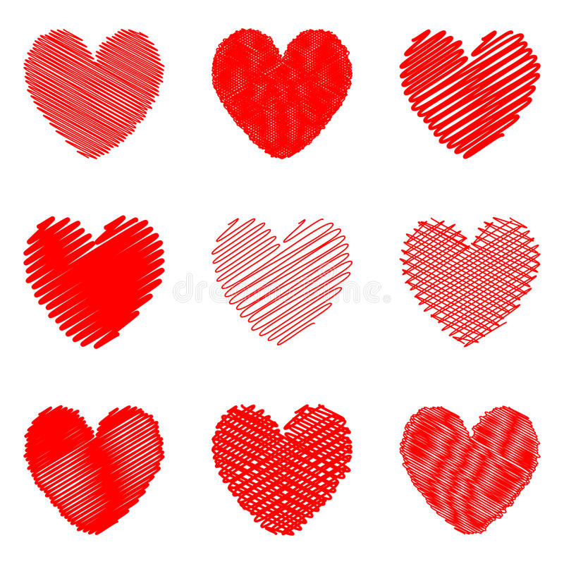 Download Set Of Design Drawn Heart Icons For Valentines Day Stock Vector - Illustration of beautiful, pattern: 37264865