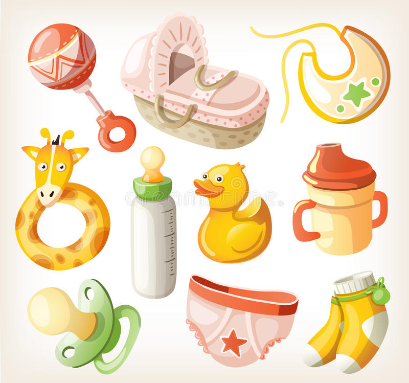 Set of design elements for baby shower vector illustration