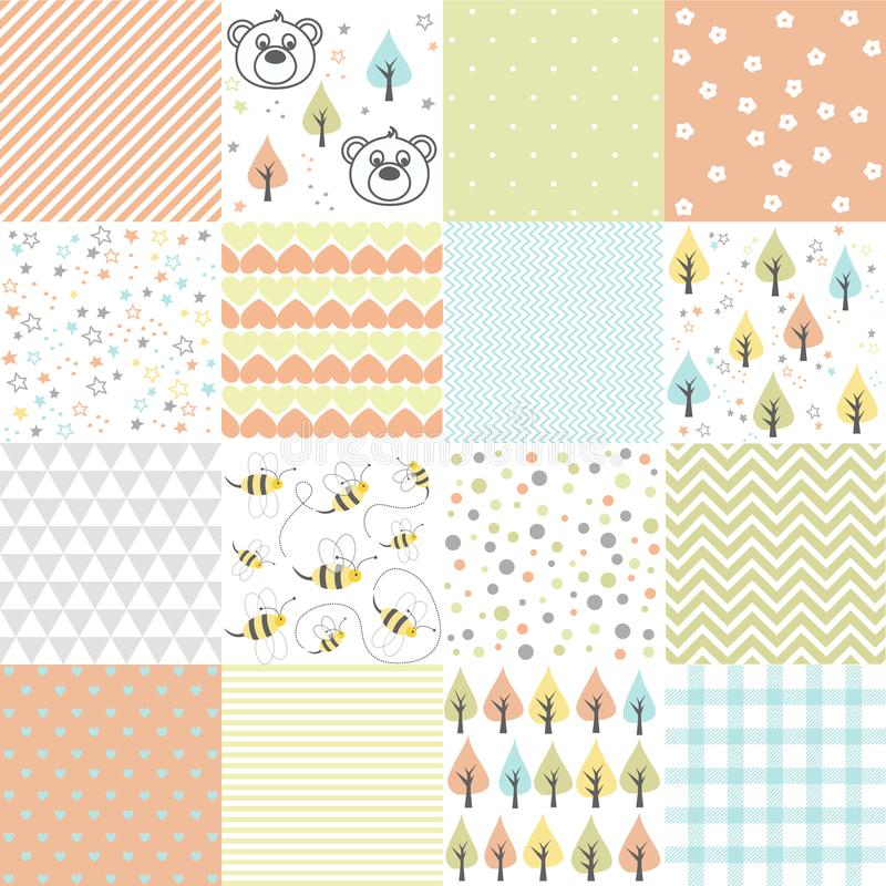 Set of design elements of baby theme seamless patterns royalty free illustration