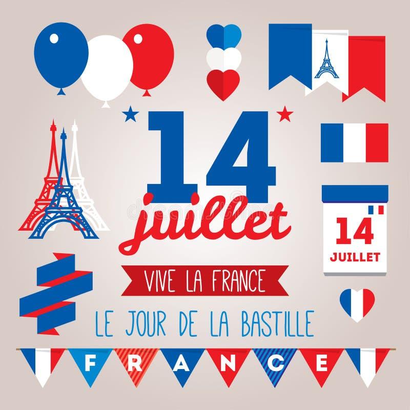 Set design elements for The Bastille Day 14 july stock illustration