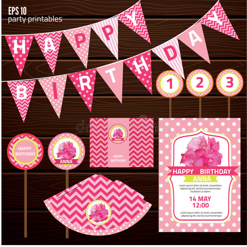Set Of Design Elements For Birthday Party Stock Vector