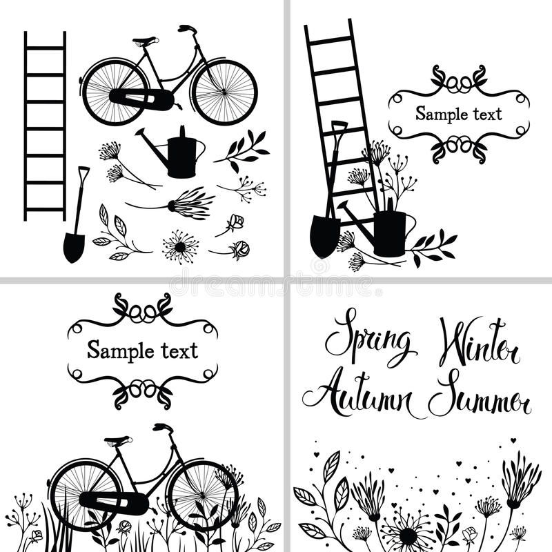 Set of design elements and cards with flowers, garden tools and stock illustration