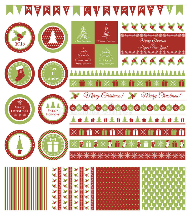 Set of design elements for Christmas party royalty free illustration