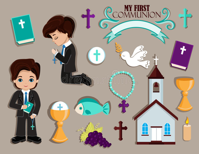 Set of design elements for First Communion for boys. vector illustration