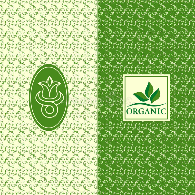 Set of design elements, graceful logo template. Seamless pattern background for organic, healthy, food packaging. Green labels and royalty free illustration