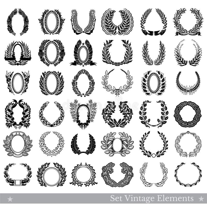 Set of design elements isolated on white. Vector wreathes from different plants isolated. On white vector illustration