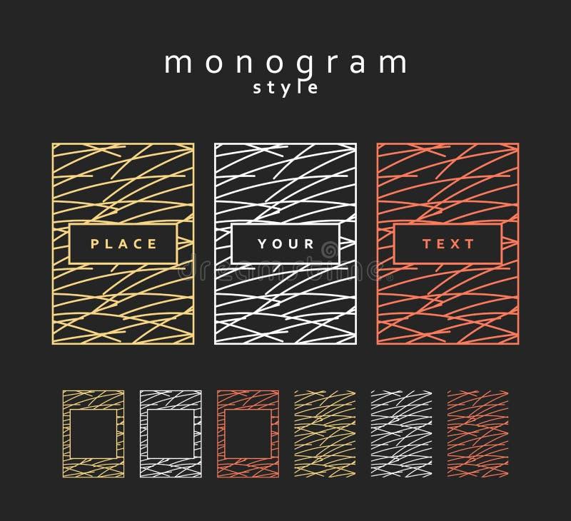 Set design elements. Monogram labels, frames, packaging for luxury products. Set of design elements. Monogram labels and frames for packaging for luxury royalty free illustration