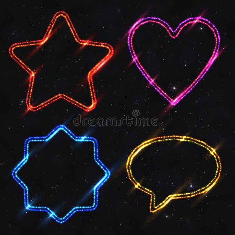Set of Design Elements Neon Shapes Isolated on Dark Starry Backg royalty free illustration