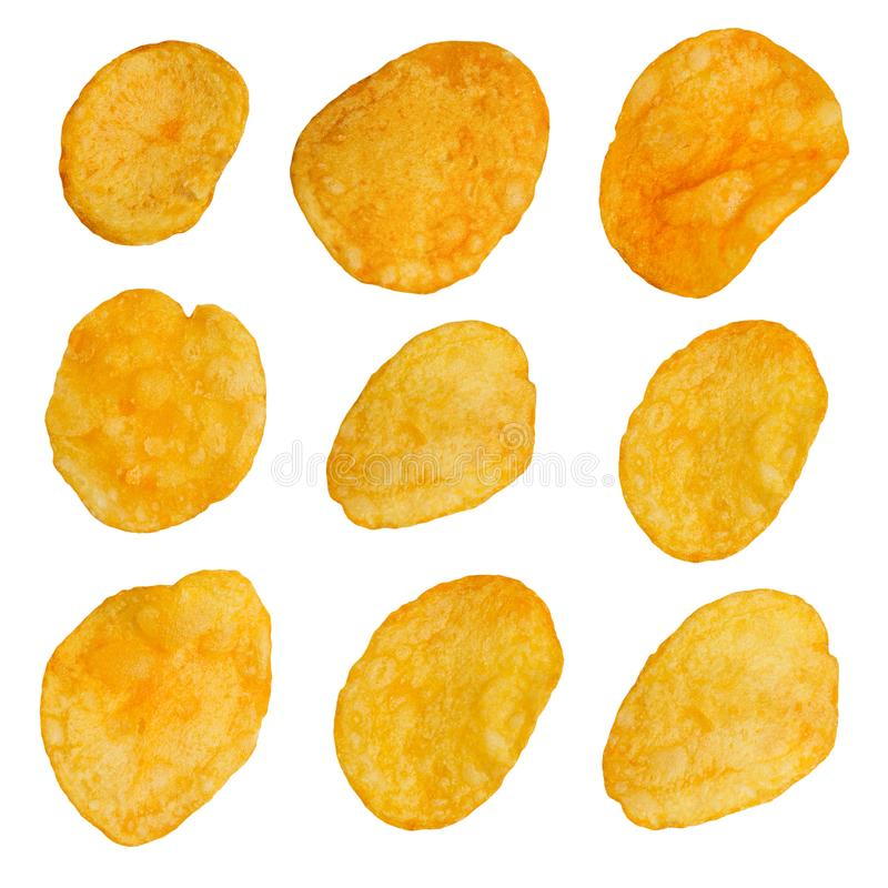 Set of Design Elements Potato Chips. Set of Design Elements Potato Chips Isolated on White Background stock photography