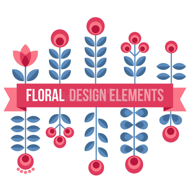 Set of design elements - retro flowers vector illustration