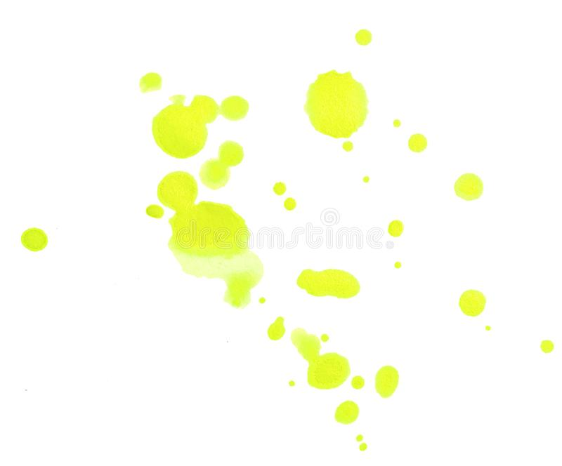 Set of Design Elements Watercolor Yellow Blobs Isolated on White. Background. Collection of Different Aquarelle Spots stock photo