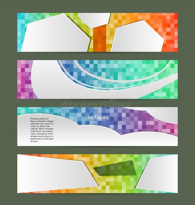 Set banner headline horizontal layout mosaic background01 vector illustration