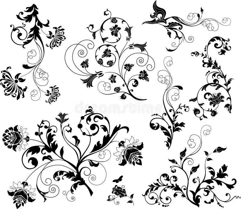 Set of design floral elements royalty free illustration