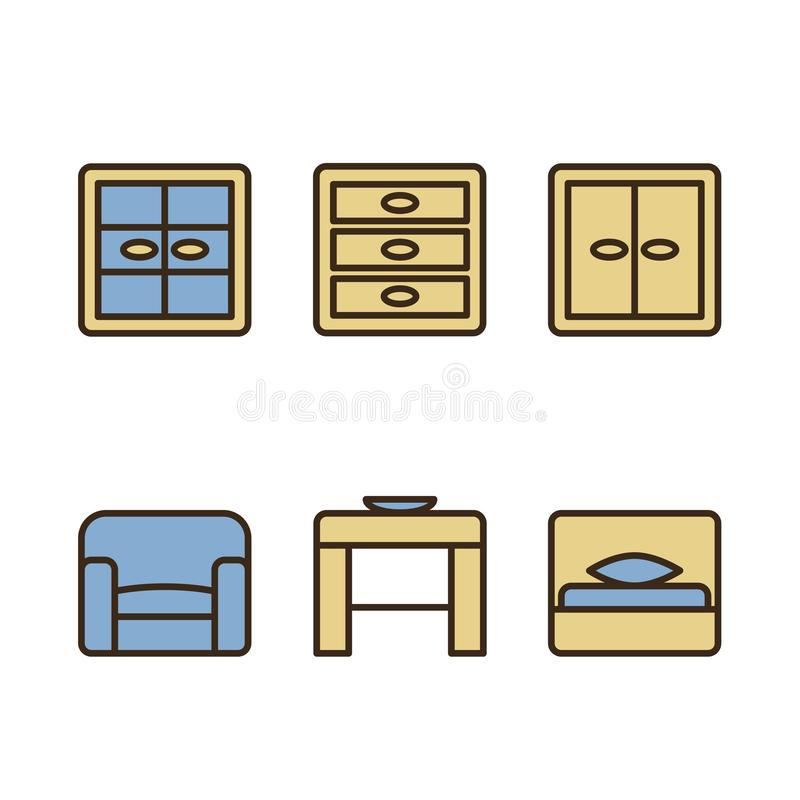 Set of design icons for Business, SEO and Social media marketing. Schematic representation of furniture. Vector EPS10 vector illustration