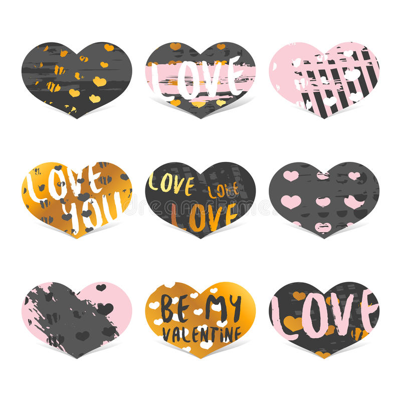 Set design modern hipster cards, label, banner in the shape of a heart with the decor of gold, grunge stains, texture stock illustration