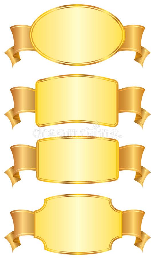 Set of design shields and ribbons. stock illustration