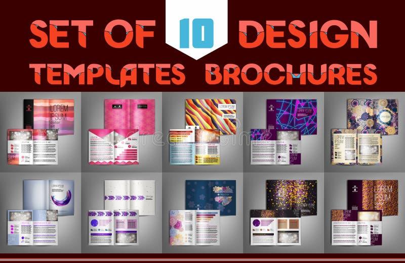 Set of 10 design templates brochures. Vector illustration. stock illustration