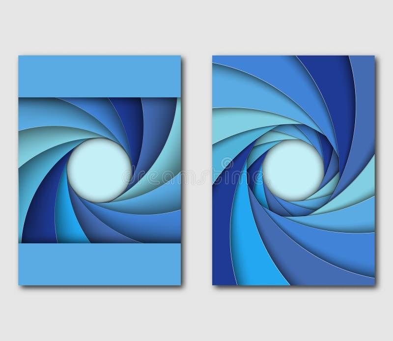 Set of design templates handbill or flyer. Different shades of blue shutter aperture. Vector illustration vector illustration