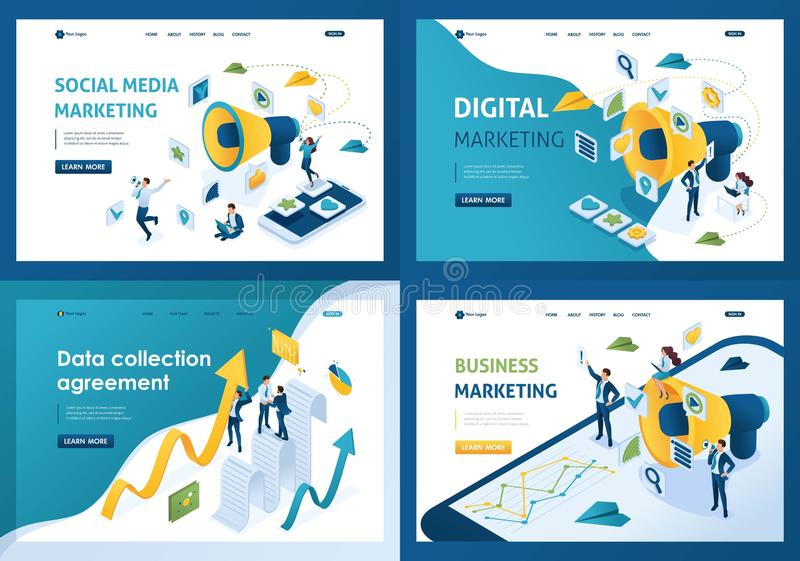 Set design web page templates of business marketing. Modern illustration concepts for website and mobile website development royalty free illustration