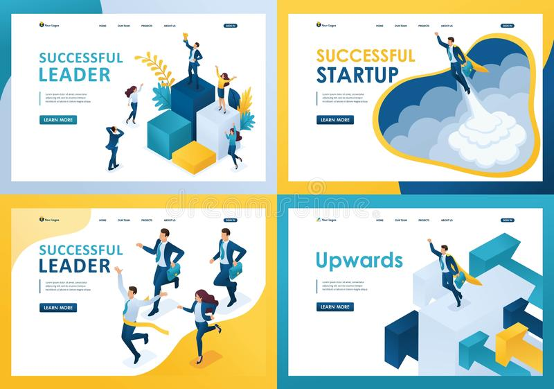 Set design web page templates of successful business. Modern illustration concepts for website and mobile website development vector illustration