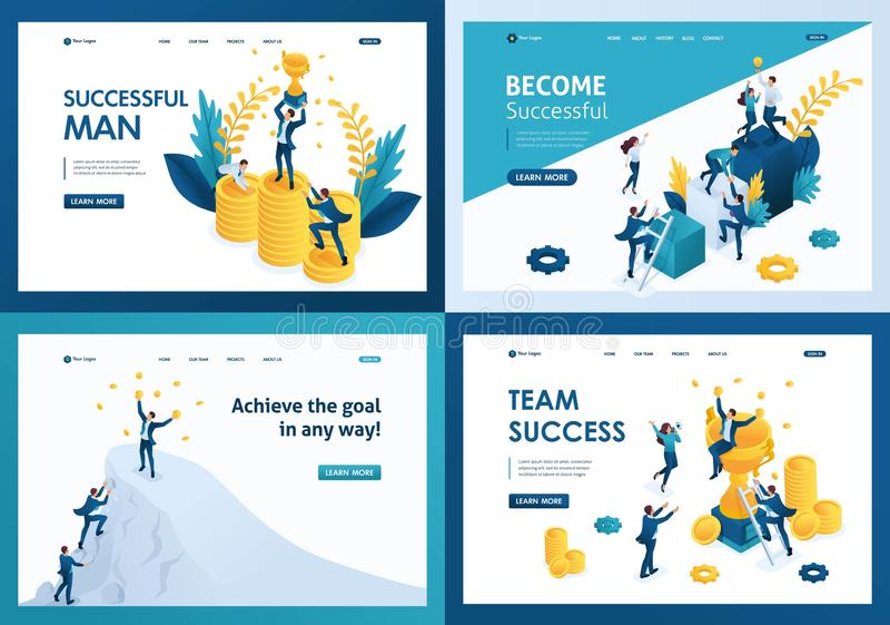 Set design web page templates of team success. Modern illustration concepts for website and mobile website development royalty free illustration