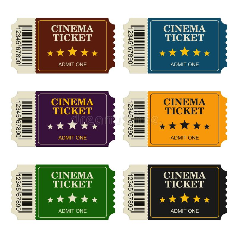 Set designed cinema tickets top view isolated on white background. Colorful tickets for movie and film royalty free illustration