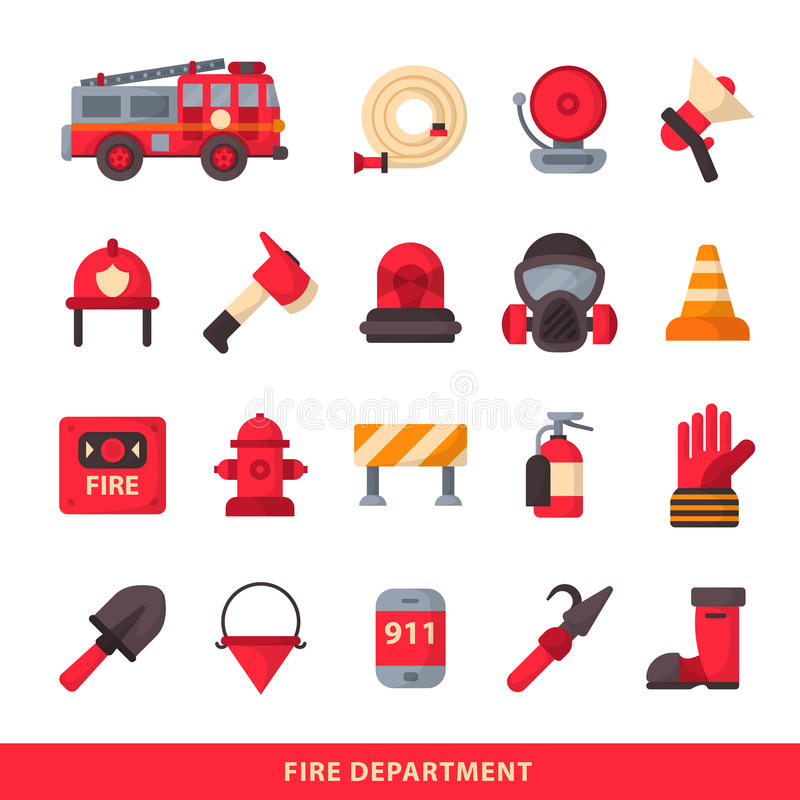 Set of designed firefighter elements coloured fire department emergency icons and water safety danger equipment fireman stock illustration