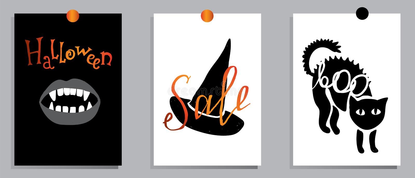 A set of designs for autumn and Halloween postcards. Concept flyers and banners with autumn leaves and pumpkins. stock illustration
