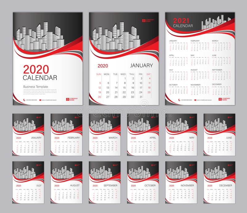 Set Desk Calendar 2020 template, Calendar 2021, Cover design. Week Starts on Sunday, Set of 12 Months, planner template. stock photo
