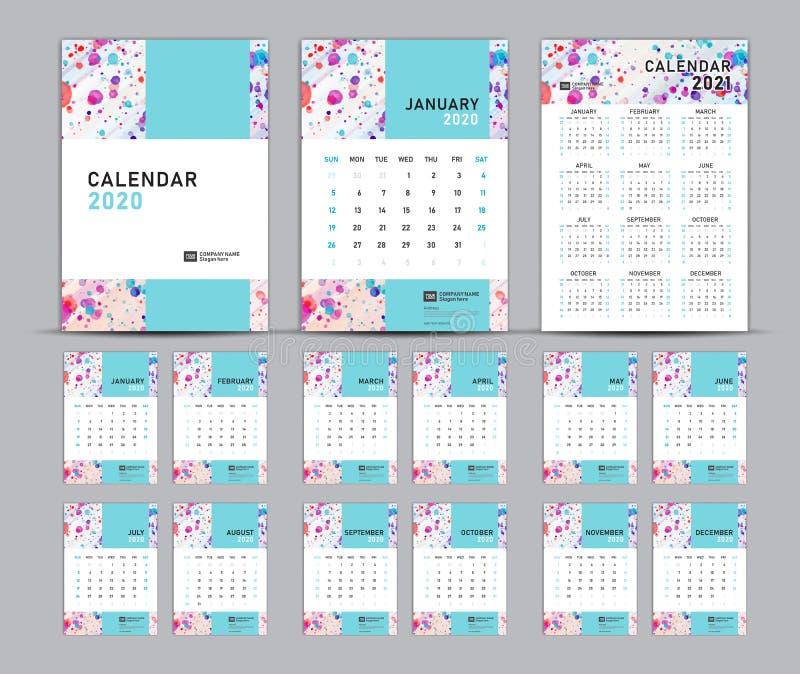 Set Desk Calendar 2020 template vecteur, pastel concept, Calendar 2021, cover design, Set of 12 Months, Week start Sunday illustration de vecteur