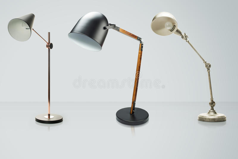Set of desk lamps isolated on white, with clipping path. Set of desk lamps isolated on white, Clipping Path included stock illustration