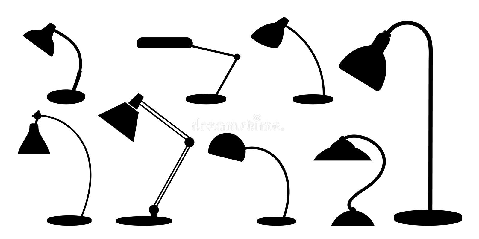 Set of desk lamps. Silhouettes. Monochrome. royalty free stock image