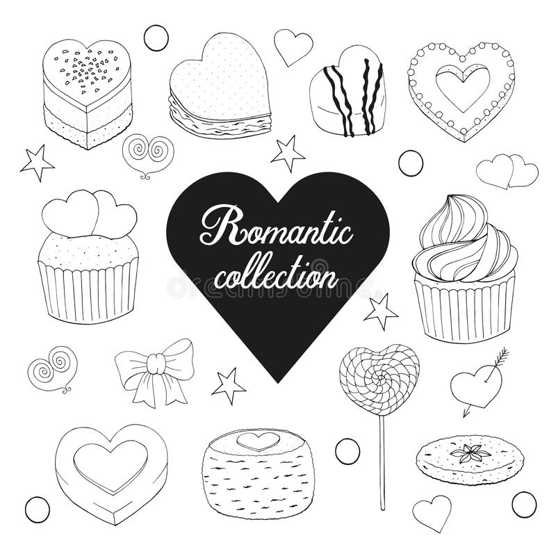 Set of desserts, cakes, candy and food. For Valentines day. Hand drawn. Countur. Black and white. Vector illustration royalty free illustration