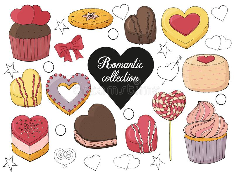 Set of desserts, cakes, candy and food. For Valentines day. Hand drawn. Vector illustration royalty free illustration