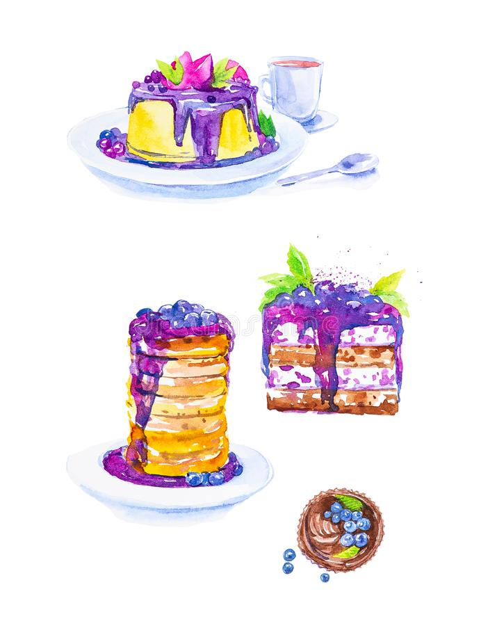 A set of desserts from cakes and a piece of cake with blueberries on plates, tea in a mug and a spoon. Watercolor illustration. Isolated on white background vector illustration