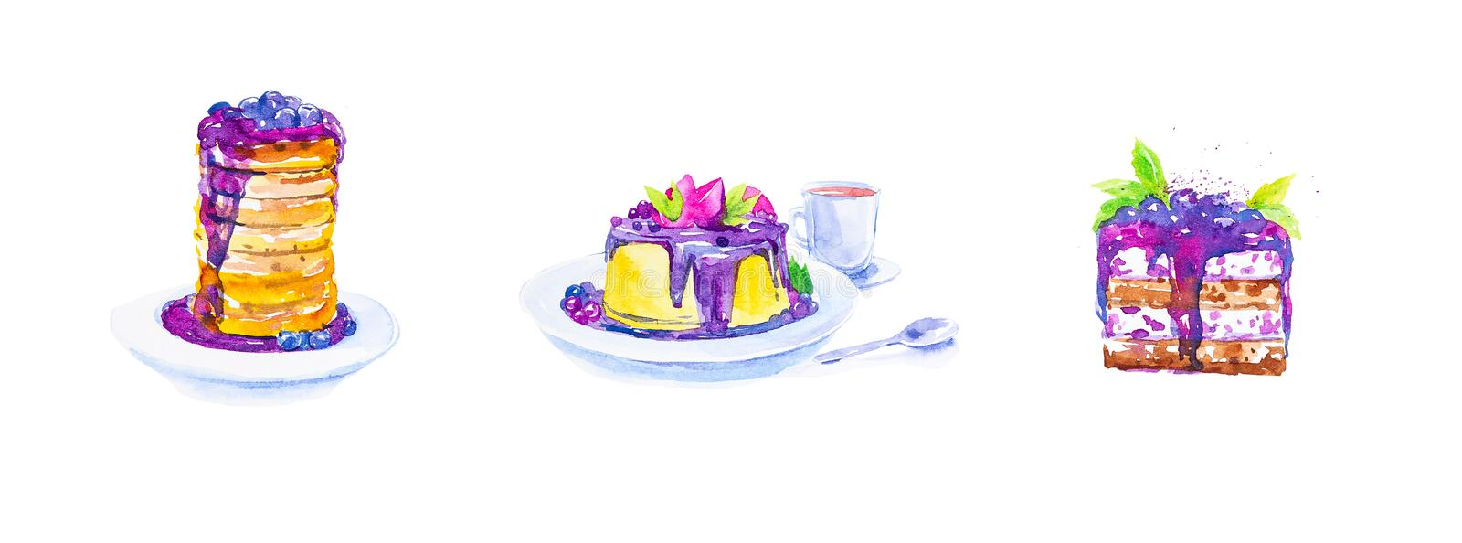A set of desserts from cakes and a piece of cake with blueberries on plates, tea in a mug and a spoon. Watercolor illustration. Isolated on white background royalty free illustration