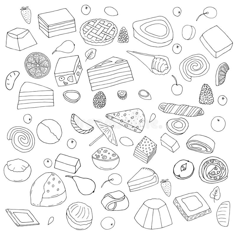 Set of desserts.Cakes, sweet rolls and pies, biscuits and berries.hand drawn vector illustration.doodles cartoon style. stock illustration