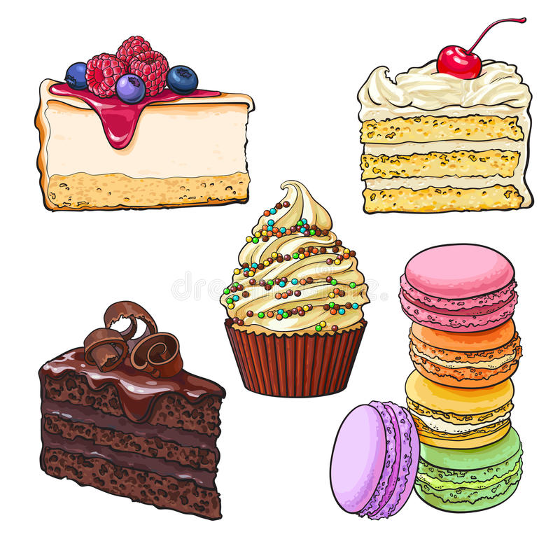 Set of desserts - cupcake, chocolate and vanilla cake, cheesecake, macaroons. Dessert collection - cupcake, chocolate and vanilla cake, cheesecake, macaroons vector illustration