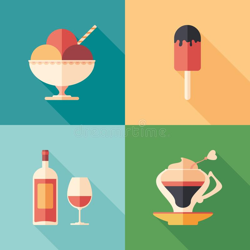 Set of desserts and drinks flat square icons with long shadows. vector illustration