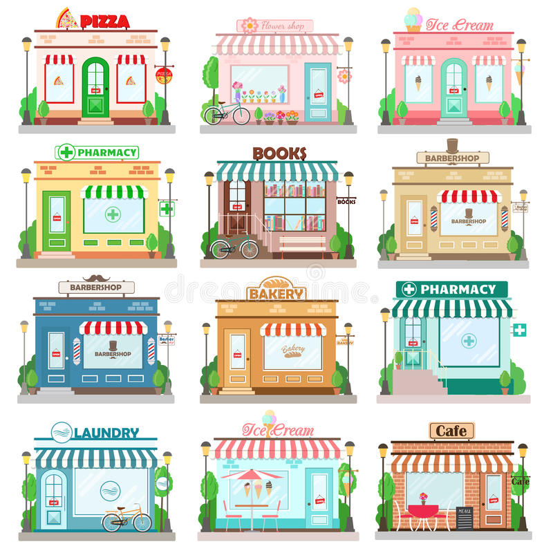 Set of detailed flat design city facade buildings. Restaurants and shops facade icons. Pizza, flowers, books shop, laundry, bakery, pharmacy, barbershop, ice vector illustration
