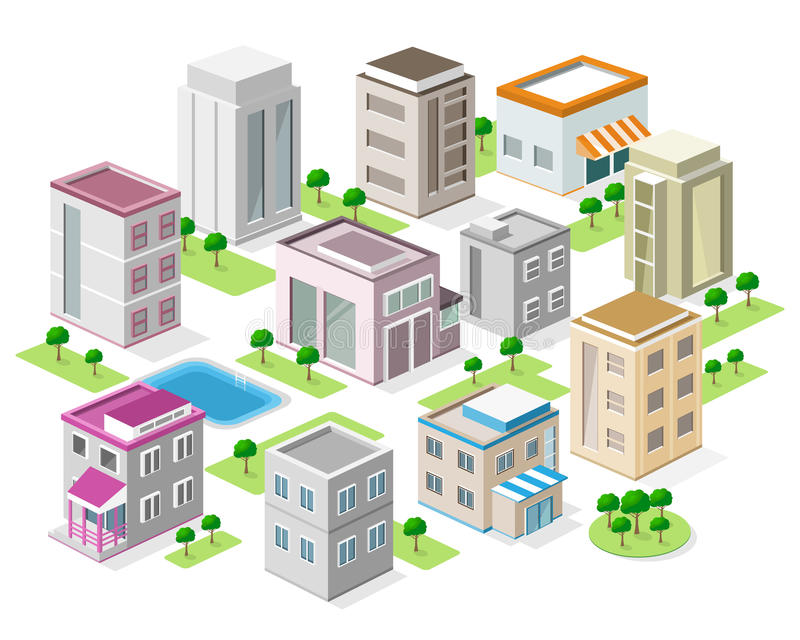 Set of detailed isometric city buildings 3d vector for Pool design graphic