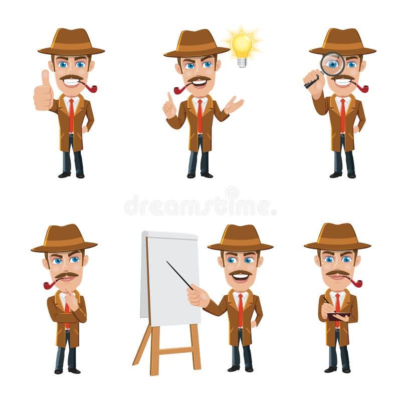 Set Detektywistyczny charakter w 6 Różnych pozach ilustracji