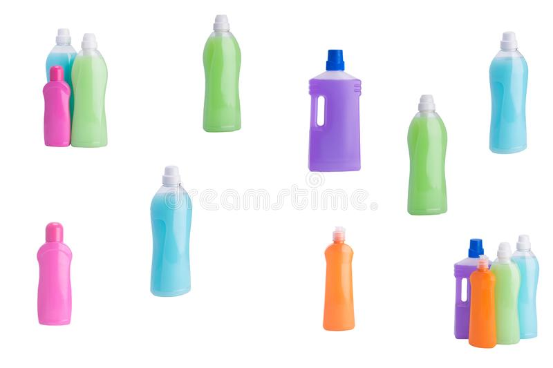 Set of detergents for cleaning isolated on white royalty free stock photo