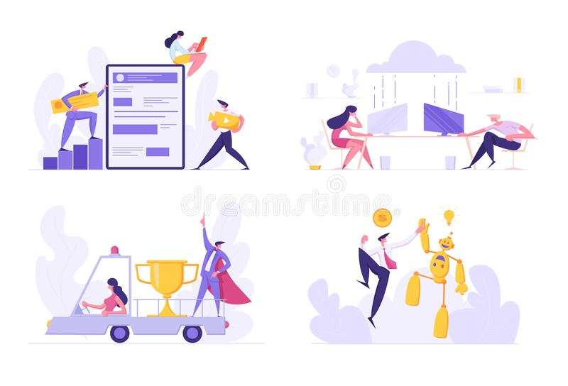 Set of Developers Create Mobile Application, People Use Cloud Storage Service, Woman Driving Lorry with Business Man. In Red Super Hero Cape and Golden Cup vector illustration